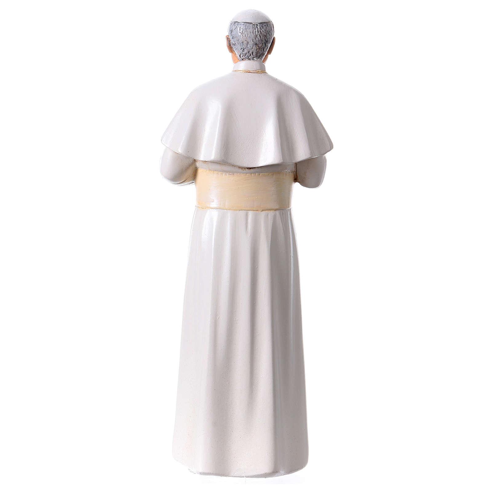 Statua Papa Giovanni Paolo II pasta legno colorata 15 cm 4