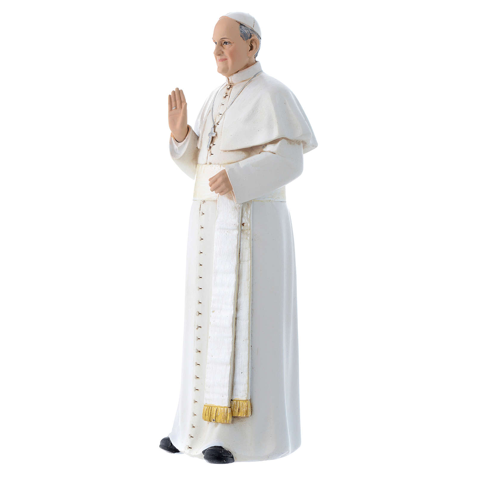 Statua Papa Francesco pasta legno colorata 15 cm 4