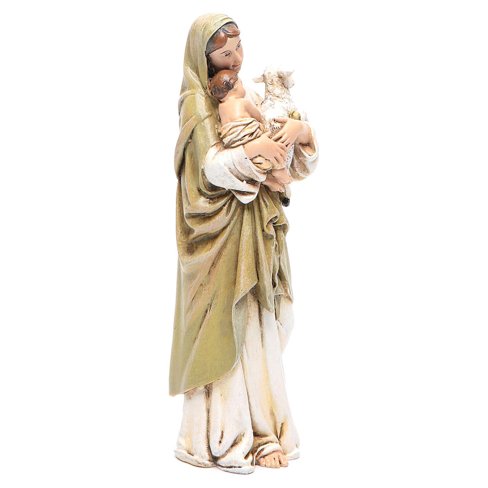 Statue Vierge à l'Enfant pâte à bois colorée 15 cm 4