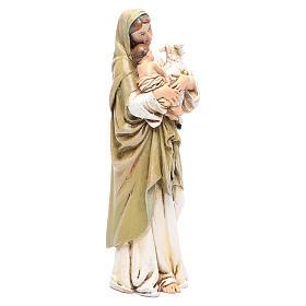 Statua Madonna con Bambino pasta legno colorata 15 cm s4