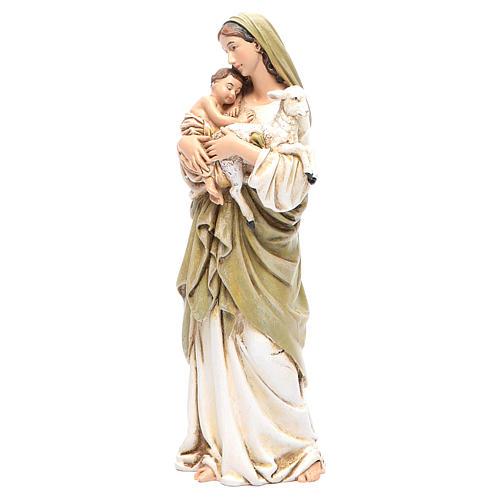 Statua Madonna con Bambino pasta legno colorata 15 cm 2