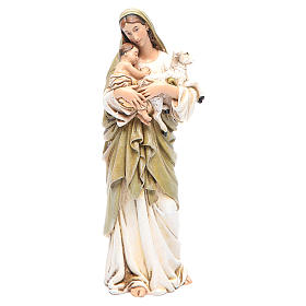 Hand painted wooden statues: Our Lady statue with baby Jesus in coloured wood pulp 15cm