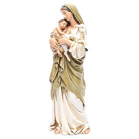 Our Lady statue with baby Jesus in coloured wood pulp 15cm s2