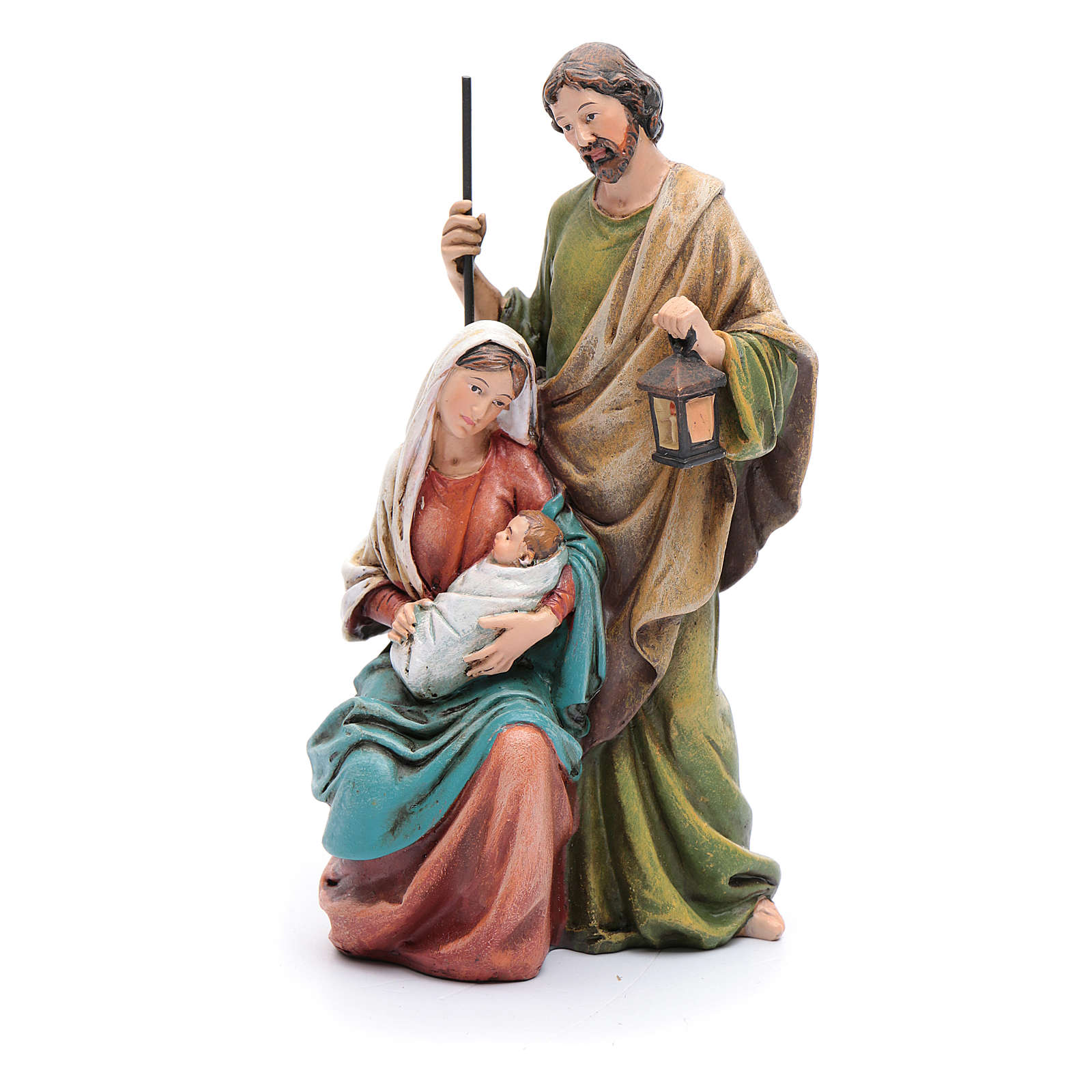 Statue Sainte Famille pâte à bois colorée 4