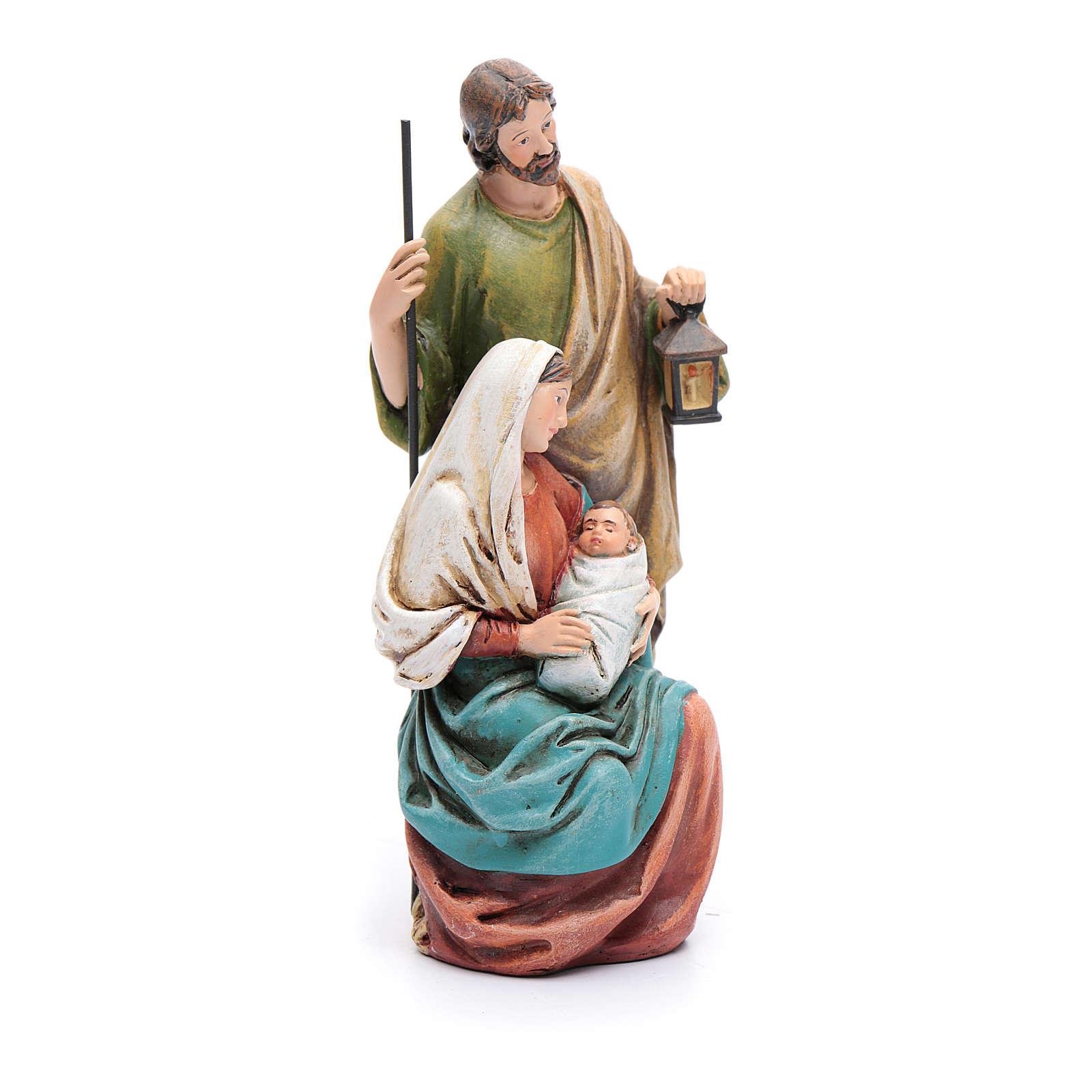 Statua Sacra Famiglia pasta legno colorata 4