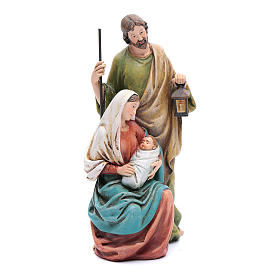 Hand painted wooden statues: Holy Family statue in coloured wood pulp