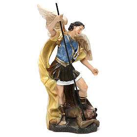 Saint Michael statue in coloured wood pulp 15cm s3