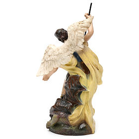 Saint Michael statue in coloured wood pulp 15cm s4