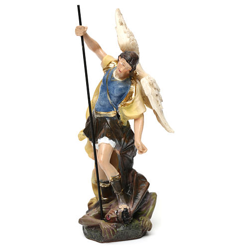 Saint Michael statue in coloured wood pulp 15cm 2