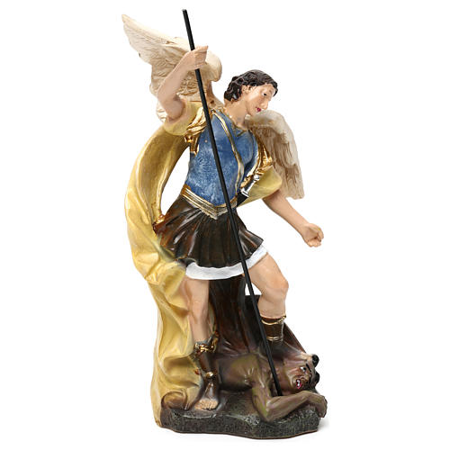 Saint Michael statue in coloured wood pulp 15cm 3