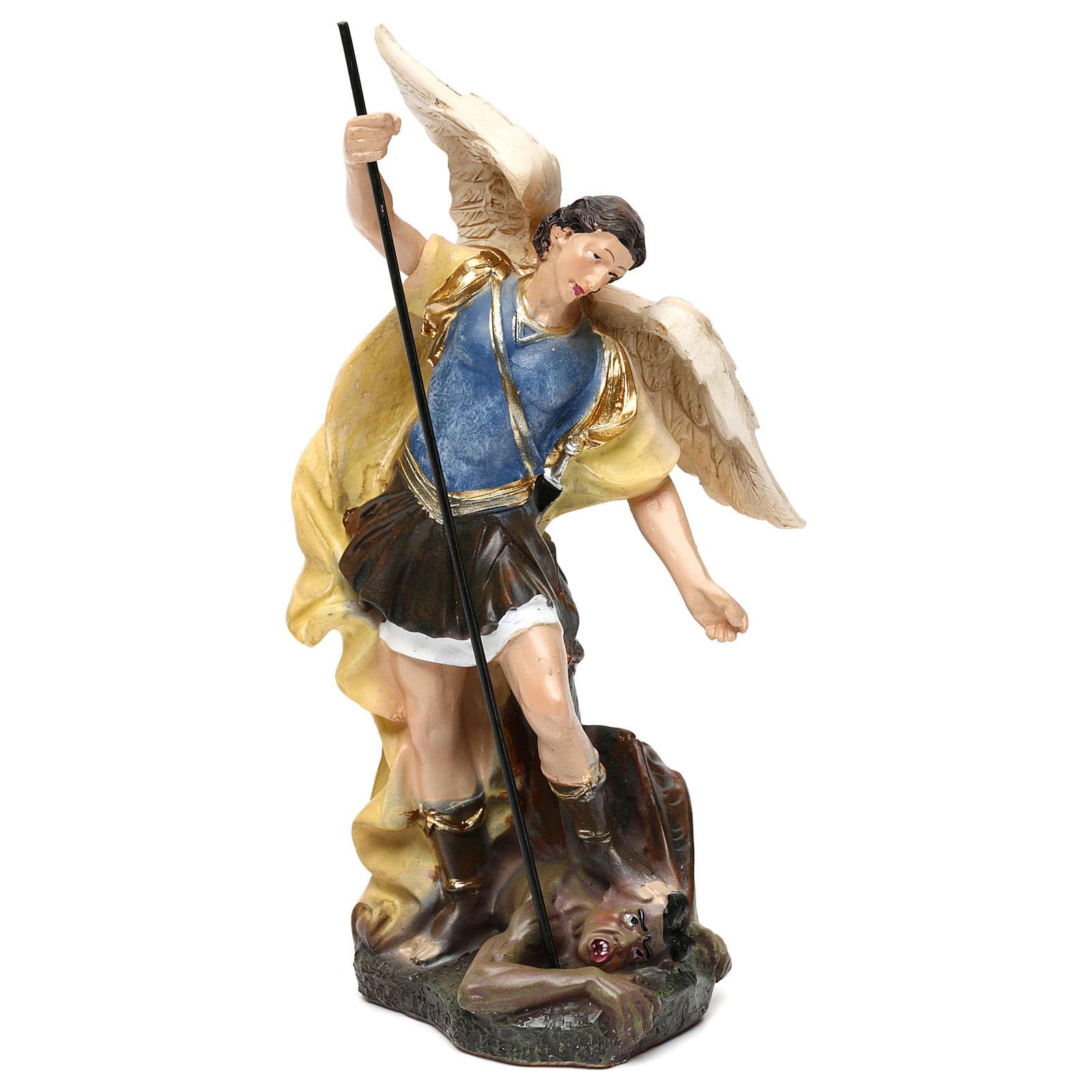 Estatua San Miguel pasta de madera pintada 15 cm 4
