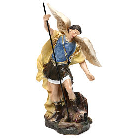 Hand painted wooden statues: Saint Michael statue in coloured wood pulp 15cm