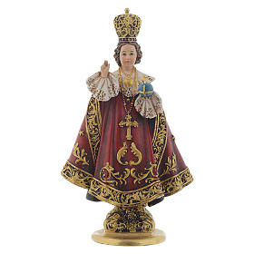 Hand painted wooden statues: Baby Jesus of Prague statue in coloured wood pulp 15cm