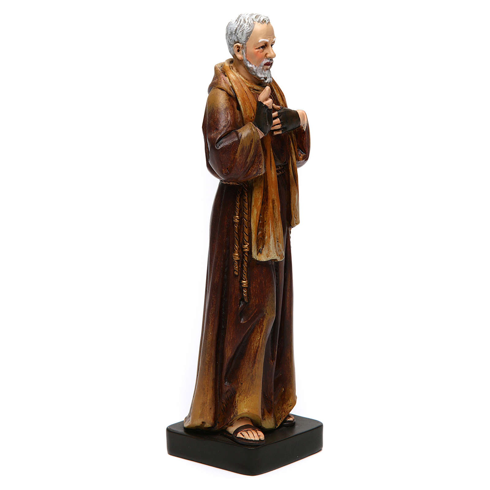 Estatua San Padre Pío de pasta de madera pintada 15 cm 4