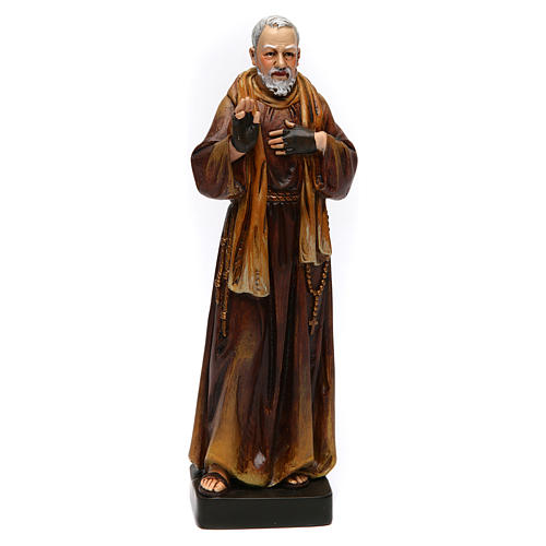 Estatua San Padre Pío de pasta de madera pintada 15 cm 1