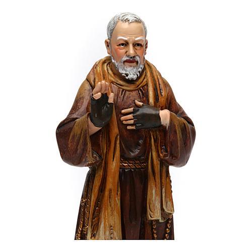 Estatua San Padre Pío de pasta de madera pintada 15 cm 2