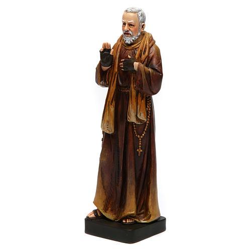 Estatua San Padre Pío de pasta de madera pintada 15 cm 3