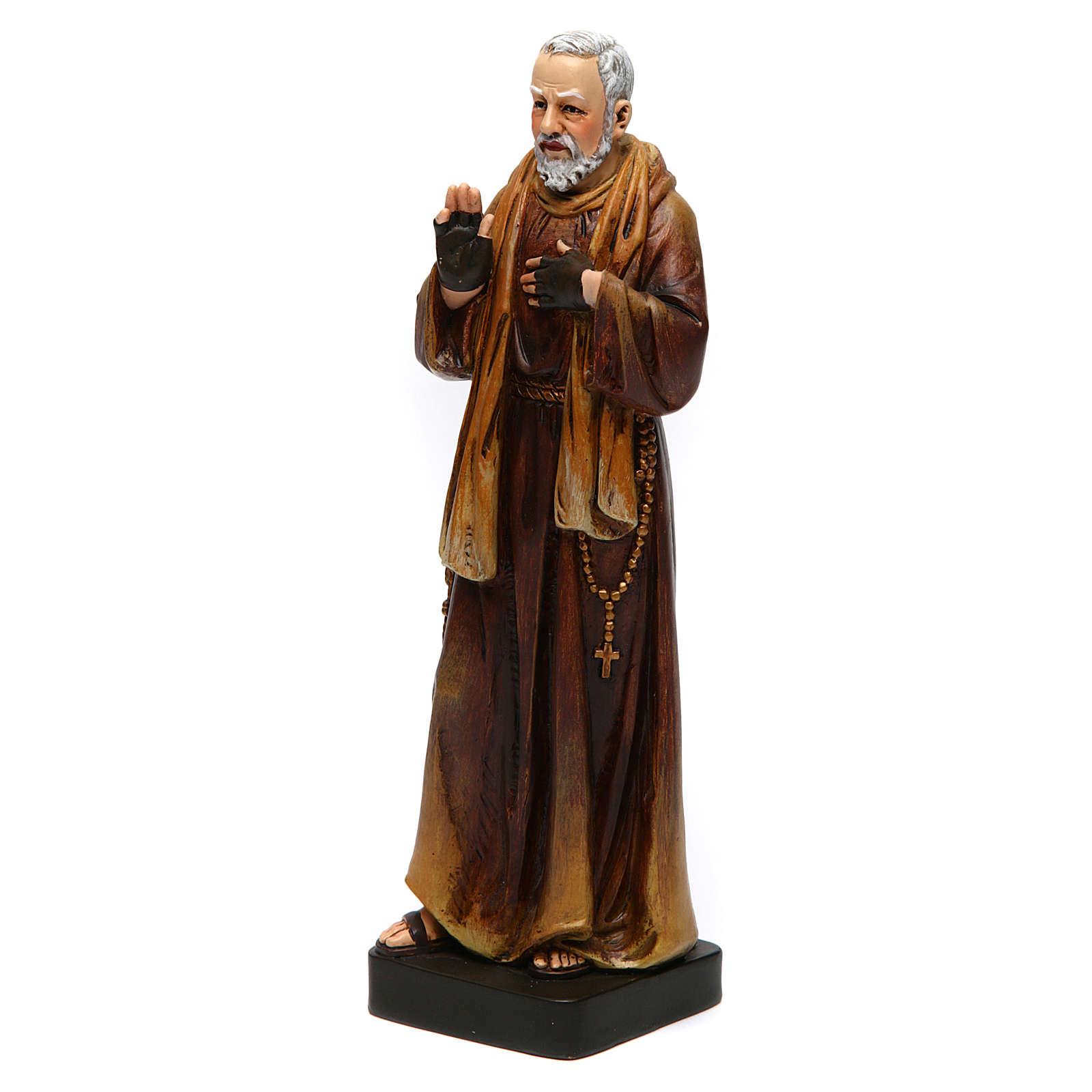 Statue Saint Pio pâte à bois colorée 15 cm 4
