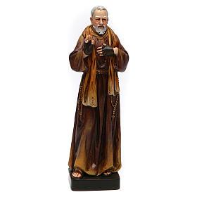 Statues en bois peint: Statue Saint Pio pâte à bois colorée 15 cm