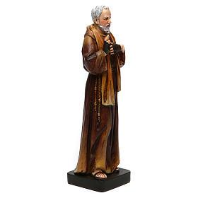 Statua San Padre Pio pasta legno colorata 15 cm s4