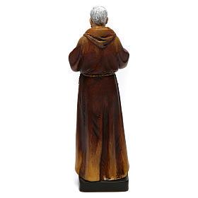 Statua San Padre Pio pasta legno colorata 15 cm s5