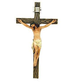 Statues en bois peint: Statue Crucifix pâte à bois colorée 20 cm