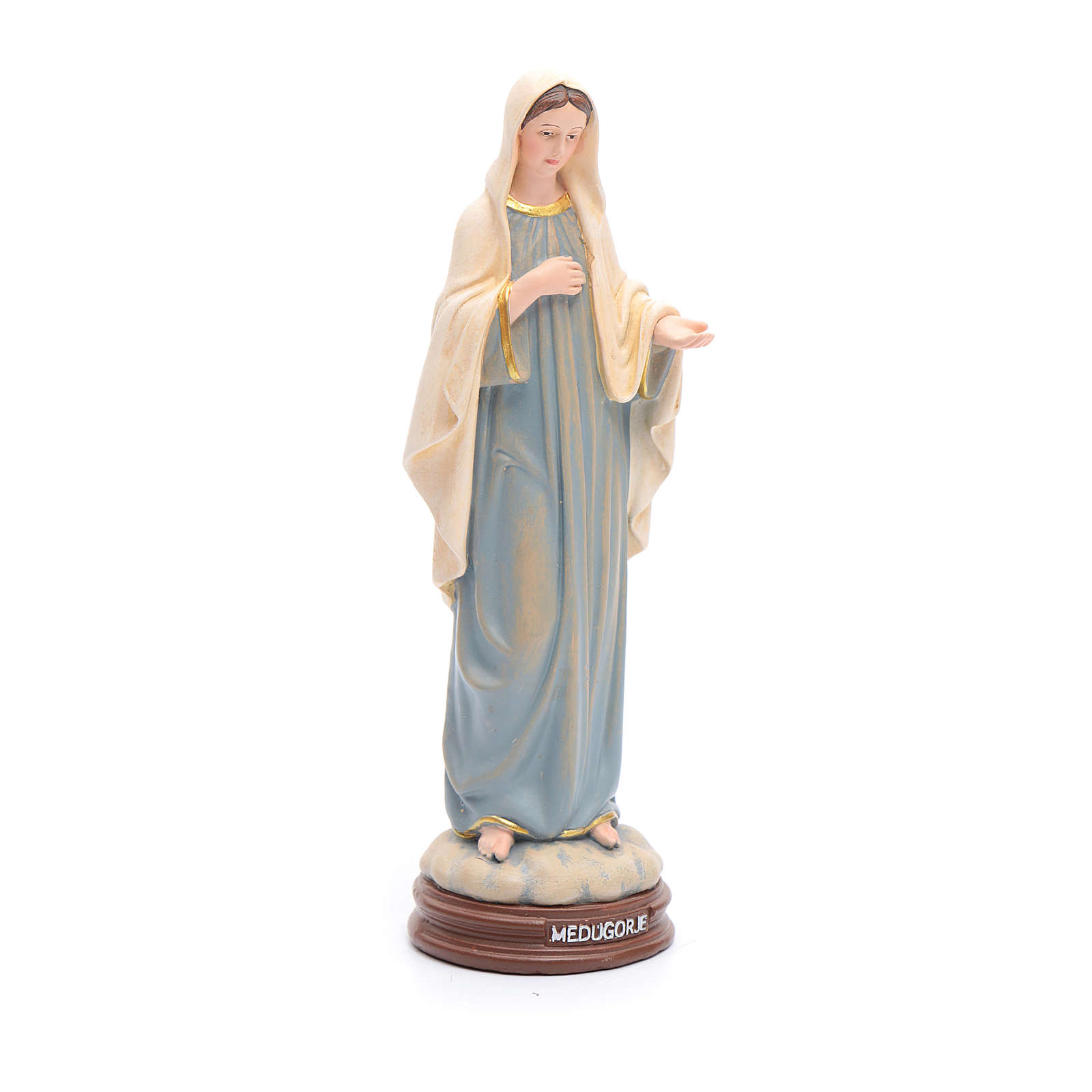 Estatua Virgen de Medjugorje de pasta de madera pintada 15 cm 4
