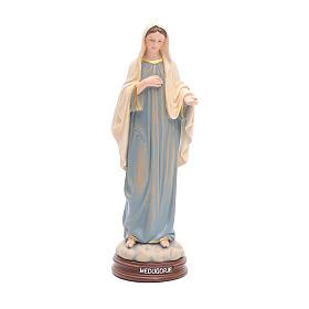 Estatua Virgen de Medjugorje de pasta de madera pintada 15 cm s1