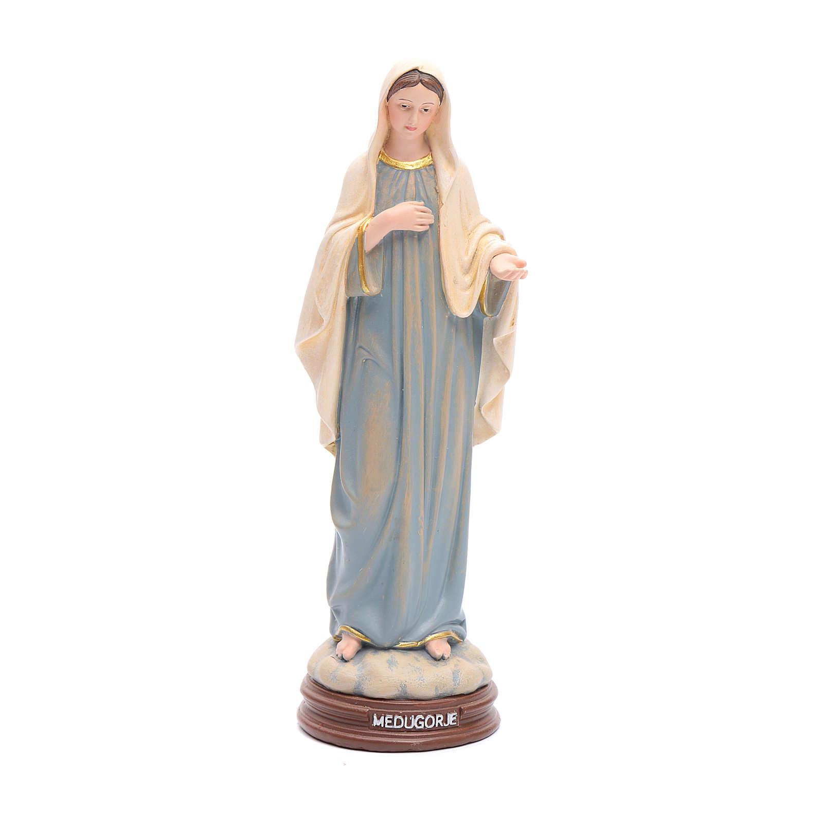 Statua Madonna Medjugorje pasta legno colorata 15 cm 4