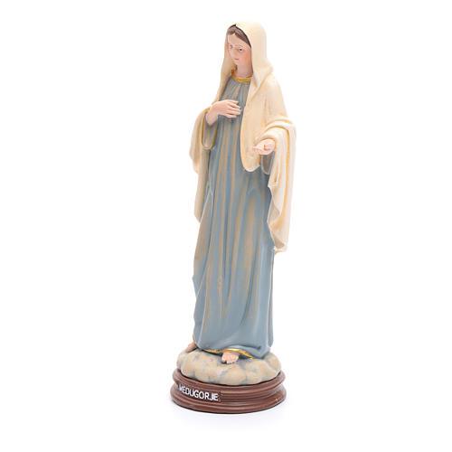 Statua Madonna Medjugorje pasta legno colorata 15 cm 2