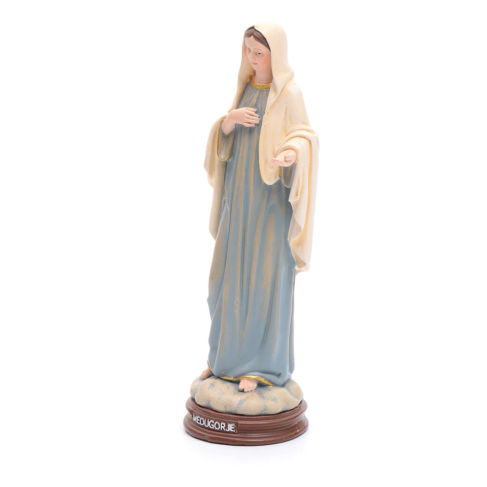 Our Lady of Medjugorje in painted wood paste 15cm 4
