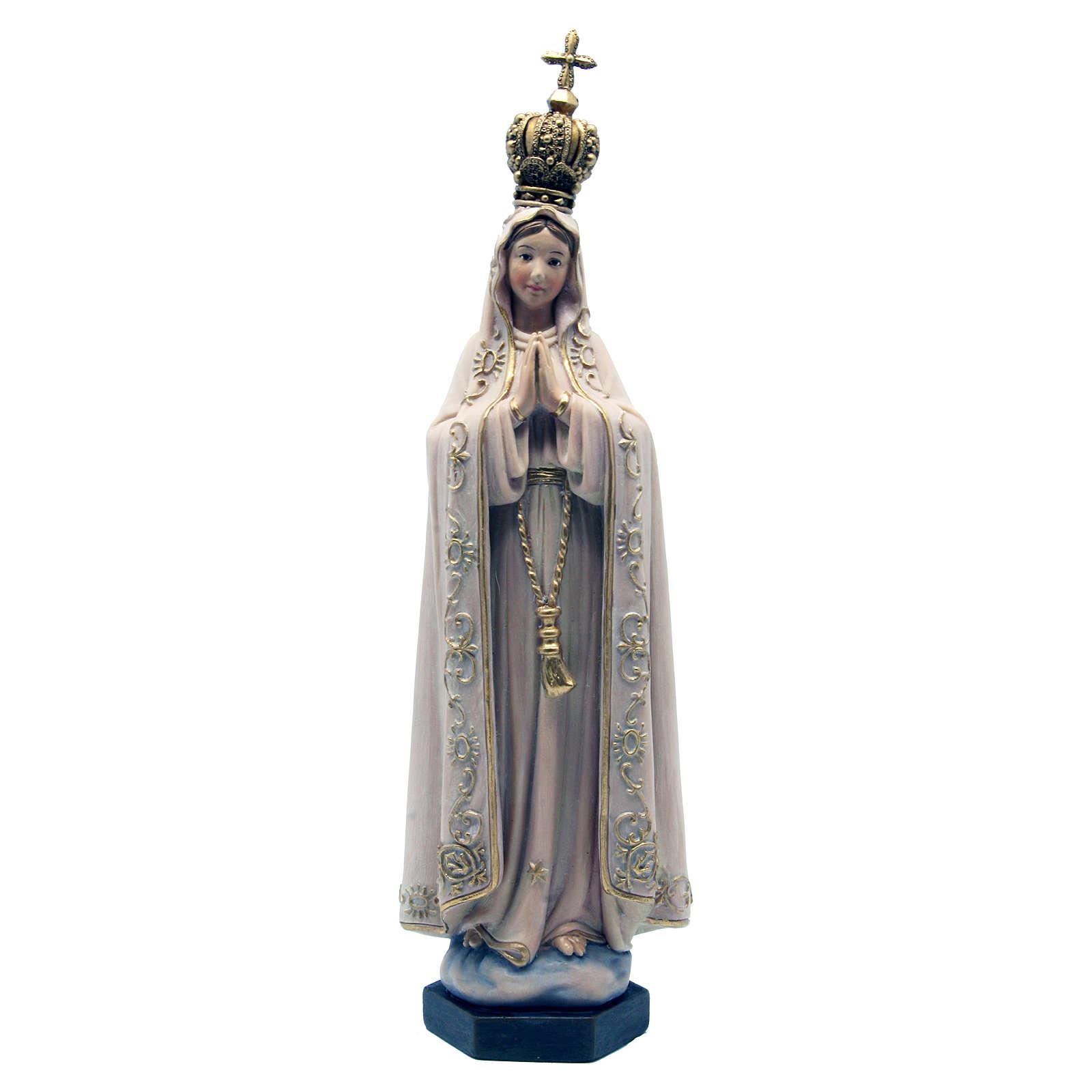 Estatua Fátima de pasta de madera pintada 15 cm 4