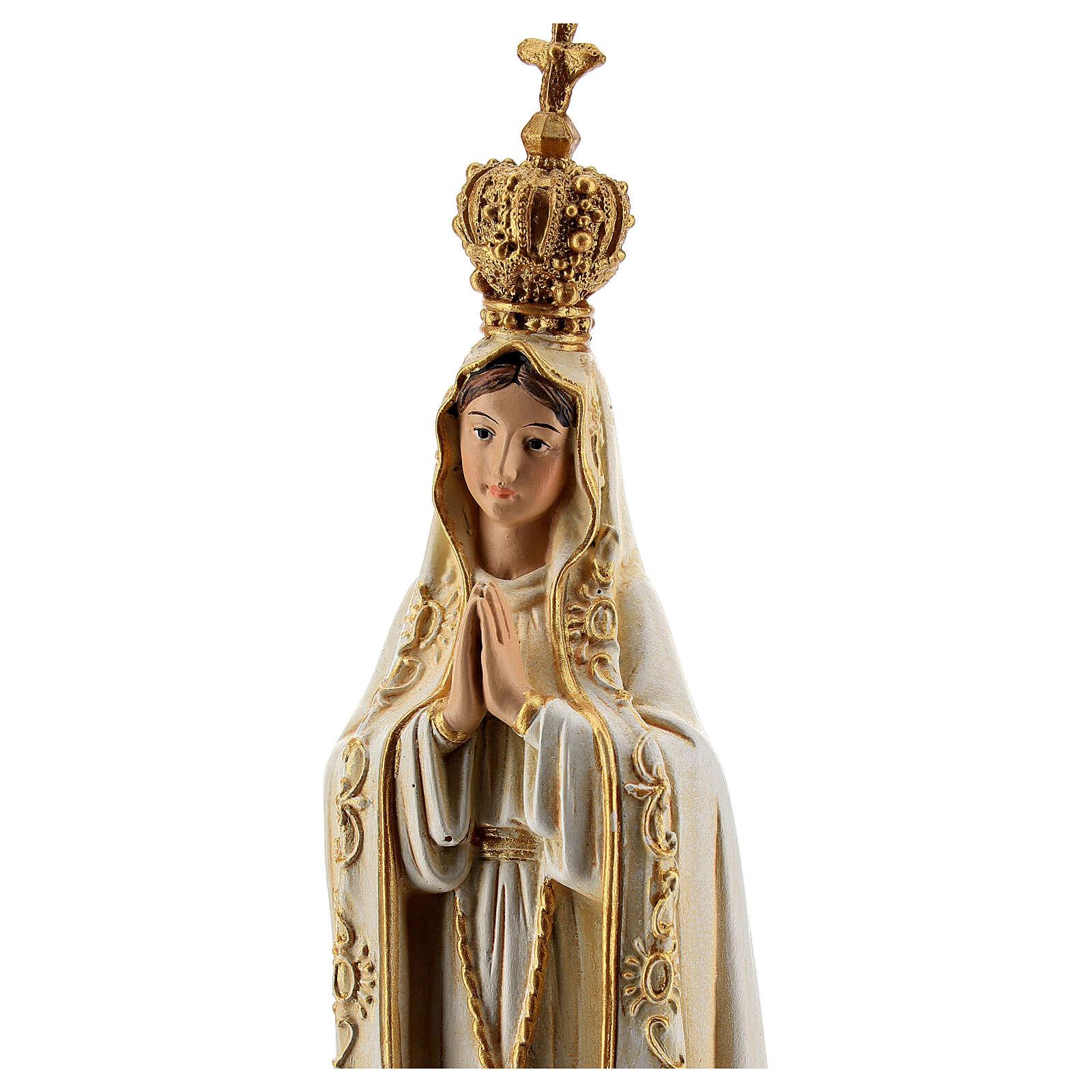 Statue Fatima pâte à bois colorée 15 cm 4
