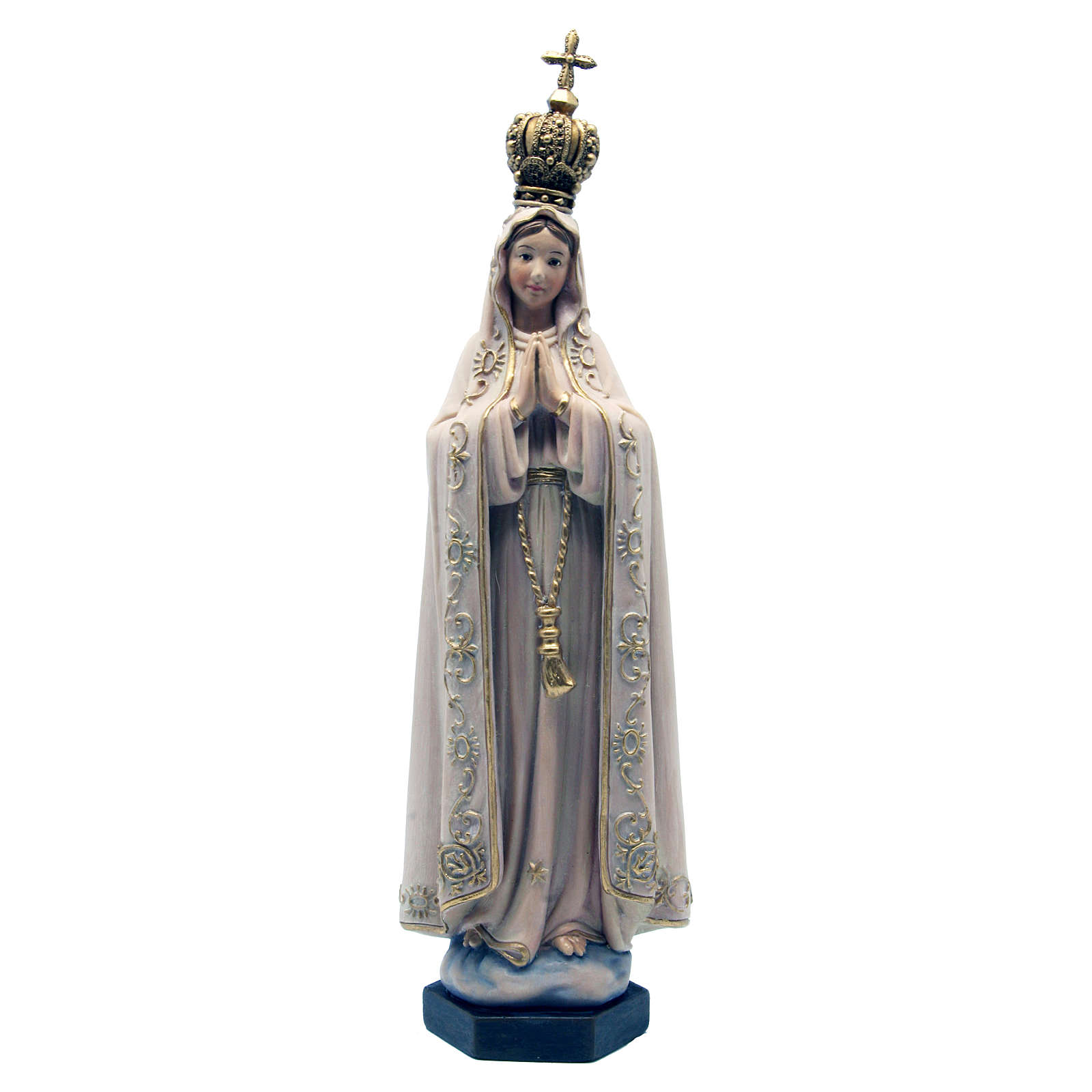 Our Lady of Fatima in painted wood paste 15cm 4