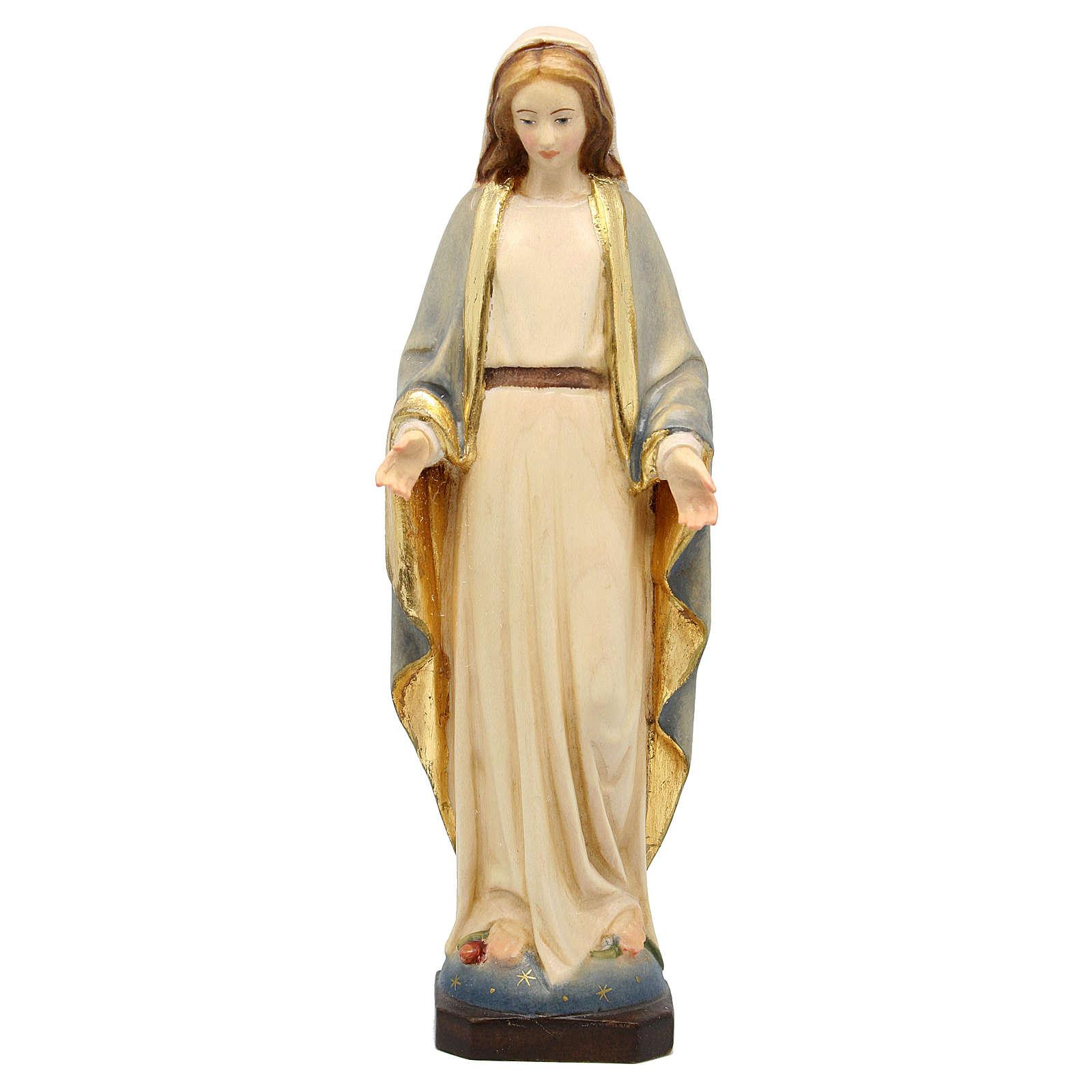 Estatua Virgen Inmaculada madera Val Gardena coloreada 4