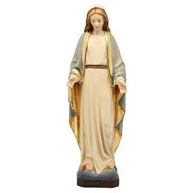 Statues en bois peint: Statue Vierge Immaculée bois Val Gardena peint