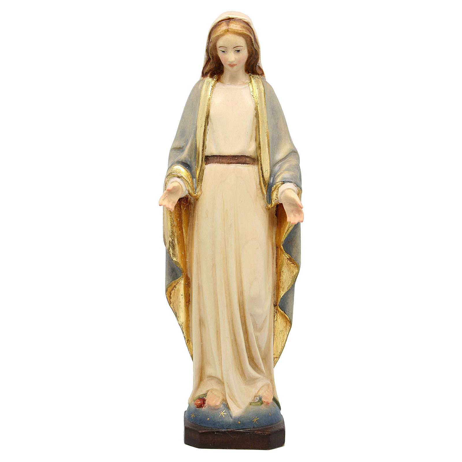 Our Lady of Grace painted wood statue, Val Gardena 4
