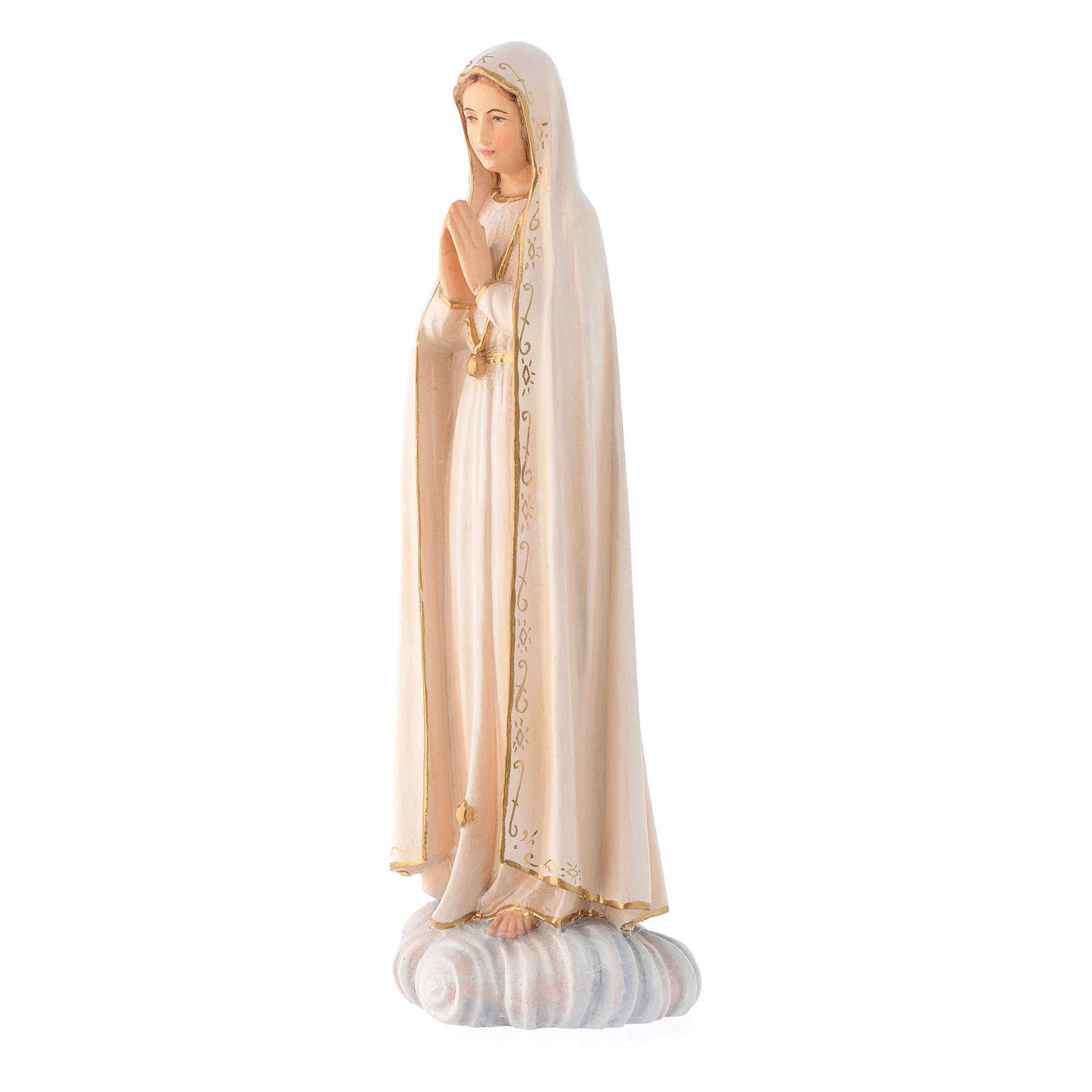 Imagen María Virgen de Fatima madera Valgardena pintada 4