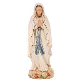 Statue Notre-Dame Lourdes bois Valgardena coloré s1