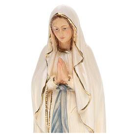 Statua Madonna Lourdes legno Valgardena colorato s2