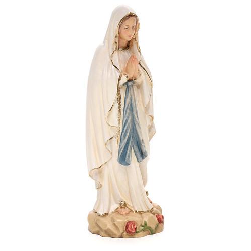 Statua Madonna Lourdes legno Valgardena colorato 4
