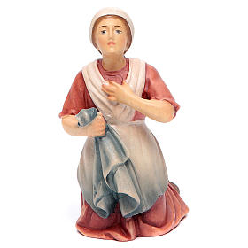 Hand painted wooden statues: Statue Bernadette painted maple wood