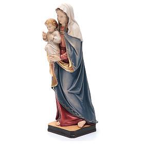 Statua Madonna Bambin Gesù legno Valgardena colorato s2