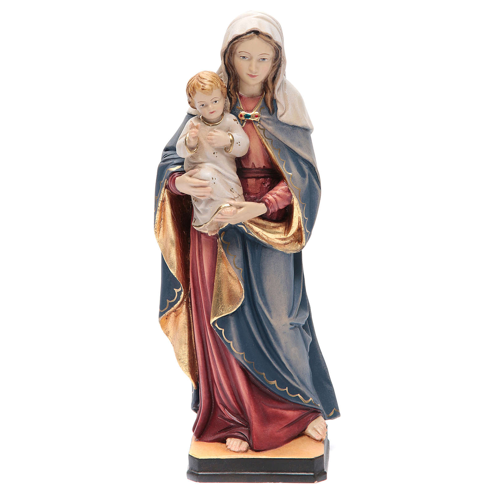 Statue Holy Mary & Baby Jesus painted Valgardena wood 4
