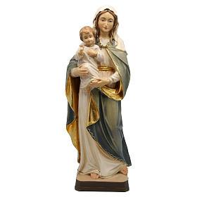 Statues en bois peint: Statue Vierge Enfant Jésus bois Valgardena coloré nuances blanches