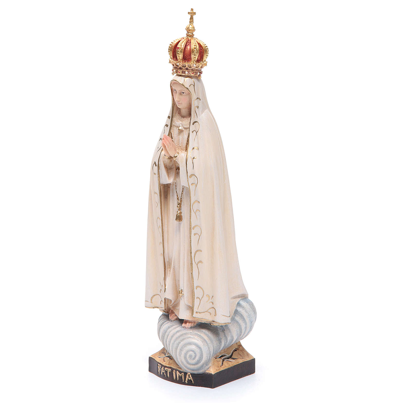 Statue Our Lady of Fatima with crown, painted Valgardena wood 4