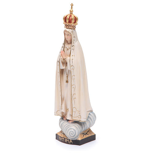 Statue Our Lady of Fatima with crown, painted Valgardena wood 2