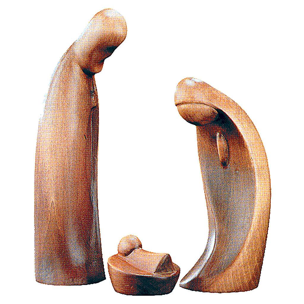 Sacra Famiglia da 3 pezzi in legno patinato marrone 4
