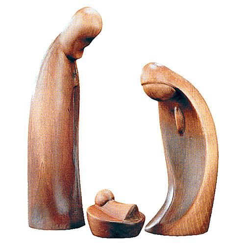 Sacra Famiglia da 3 pezzi in legno patinato marrone 1