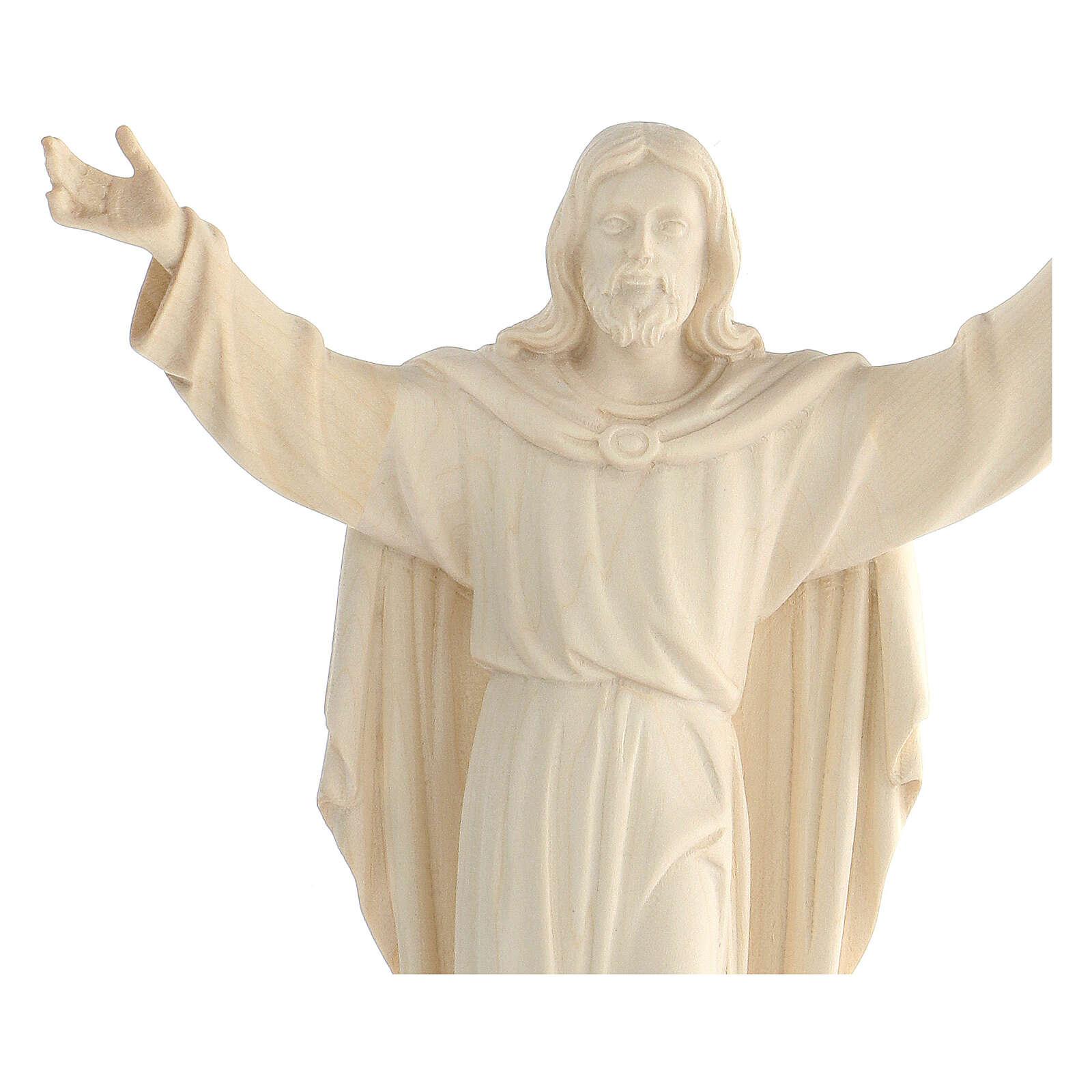 Imagem Cristo Ressuscitado madeira natural 4